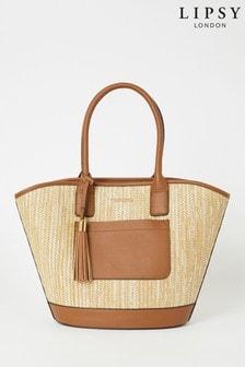 Lipsy Brown Straw Tote Bag