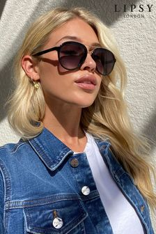 Lipsy Black Enamel Aviator Sunglasses
