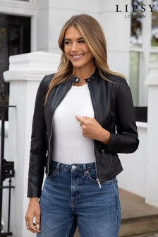 Lipsy Black Collarless Leather Jacket