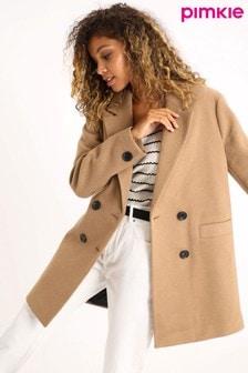 Pimkie Brown Double Button Smart Coat