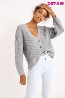 Pimkie Grey V Neck Button Through Cardigan