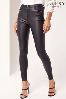 Lipsy Kate Black Coated Mid Rise Skinny Jean
