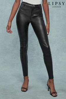Lipsy Faux Leather Black Selena High Rise Jean