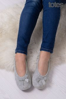 Totes Grey Isotoner Terry Ballet With Bow