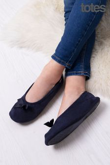 Totes Navy Isotoner Terry Ballet With Bow
