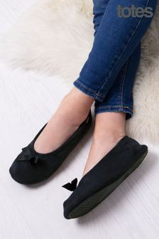 Totes Black Isotoner Terry Ballet With Bow