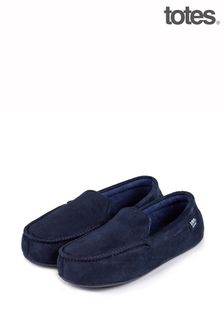 Totes Blue Isotoner Suedette Mocc With Driving Sole