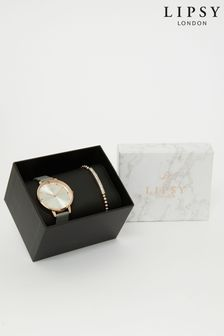 Lipsy Grey Watch and Bracelet Gift Set