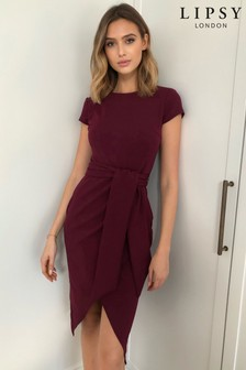 Lipsy Purple Wrap Self Tie Midi Dress