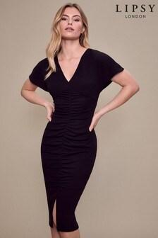 Lipsy Black Ruched Midi Dress