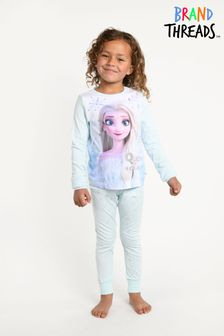 Brand Threads Blue Frozen Elsa Girls Snowflake Pyjamas