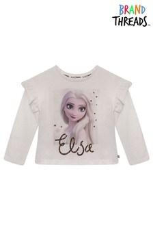 Brand Threads Cream Frozen Elsa Girls Snowflake T-Shirt