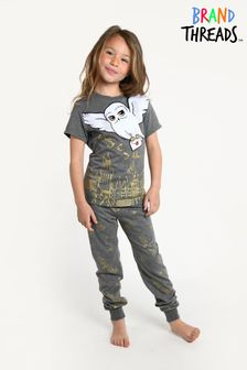 Brand Threads Black Harry Potter - Hedwig Girls Gold Glitter Pyjamas