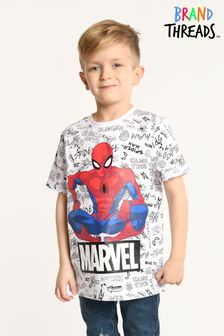 Brand Threads White Marvel - Spiderman Boys T-Shirt