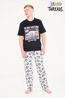 Brand Threads Black The Mandalorian Child- Mens Pyjamas