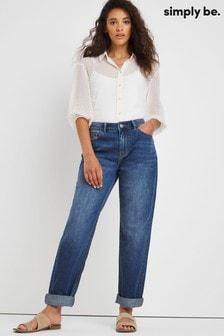 Simply Be Blue Riley Slouch Boyfriend Jeans