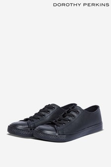 Dorothy Perkins Black Wide Fit PU Icon Trainer