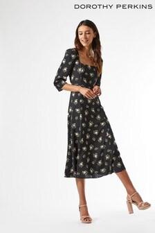 Dorothy Perkins Black Floral Square Neck Dress