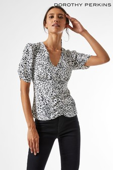 Dorothy Perkins Black Mono Print Ruched Tee