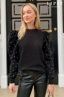 Lipsy Black Diamante Sweat