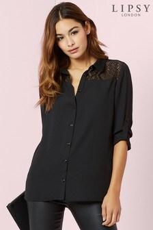 Black  Lipsy Long Sleeve Lace Shirt