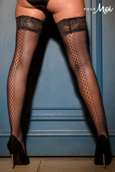Pour Moi Black Suspense Fishnet Lace Top Hold Up Stocking