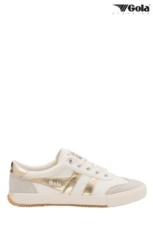 Gola White Ladies Badminton Canvas Lace-Up Trainers
