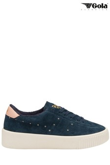 Gola Navy Super Court Suede Lace-Up Trainers