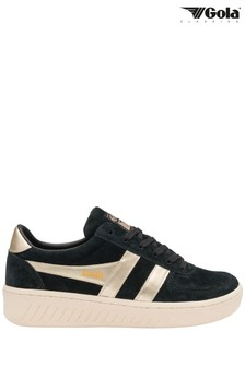 Gola Black Grandslam Pearl Suede Lace-Up Trainers