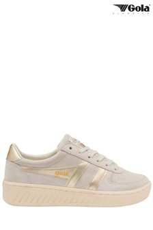 Gola White Grandslam Pearl Suede Lace-Up Trainers