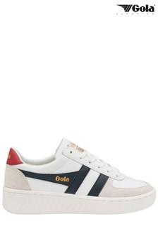 Gola White Grandslam Classic Leather Lace-Up Trainers