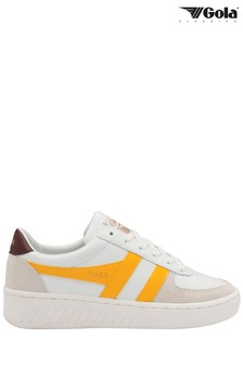 Gola White and Yellow Grandslam Classic Leather Lace-Up Trainers
