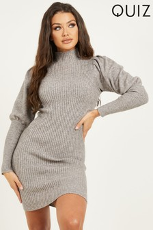 Quiz Grey Knitted Puff Sleeve Dress