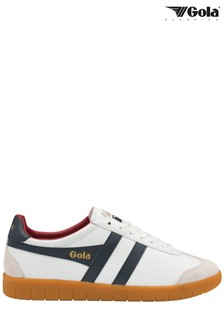Gola Blue/White Men's Hurricane Leather Lace-Up Trainers