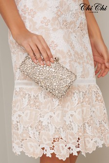 Chi Chi London Silver Melodie Diamonte Clutch