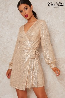 Chi Chi London Gold Dayna Wrap Sequin Dress