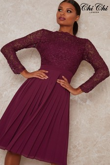 Chi Chi London Berry Athenia Pleated Midi Dress