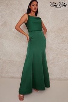 Chi Chi London Green Stretch Satin Maxi Dress