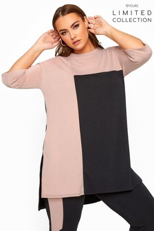 Yours Black Limited Collection Curve Colour Block Lounge Top