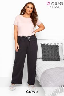 Yours Black Curve Basic Cotton Pyjama Bottoms