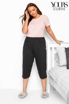 Yours Black Curve Crop Pyjama Bottoms