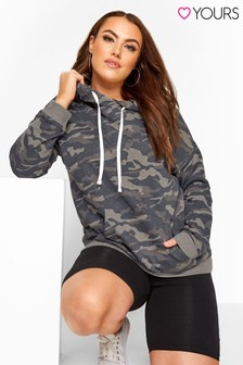 Yours Grey Curve Camo Print Hoodie
