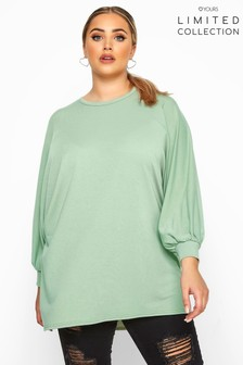 Yours Sage Limited Collection Curve Oversized Batwing Sleeve Sweatshirt