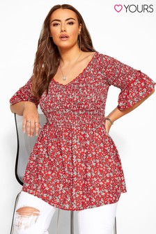 Yours Red Ditsy Curve Ditsy Floral Shirred Bardot Top