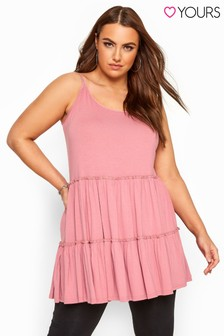 Yours Pink Curve Strappy Tiered Peplum Smock Tunic