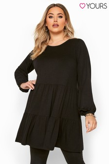 Yours Black Curve Balloon Sleeve Tiered Smock Tunic