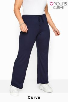 Yours Navy Curve Bestseller Wide Leg Pull On Stretch Jersey Yoga Pants