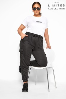 Yours Limited Black Collection Curve Utility Joggers