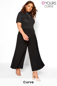 Yours Black Super Wide Leg Jersey Palazzo Trousers