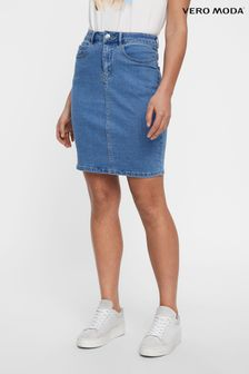 Vero Moda Blue High Waisted Denim Mini Skirt